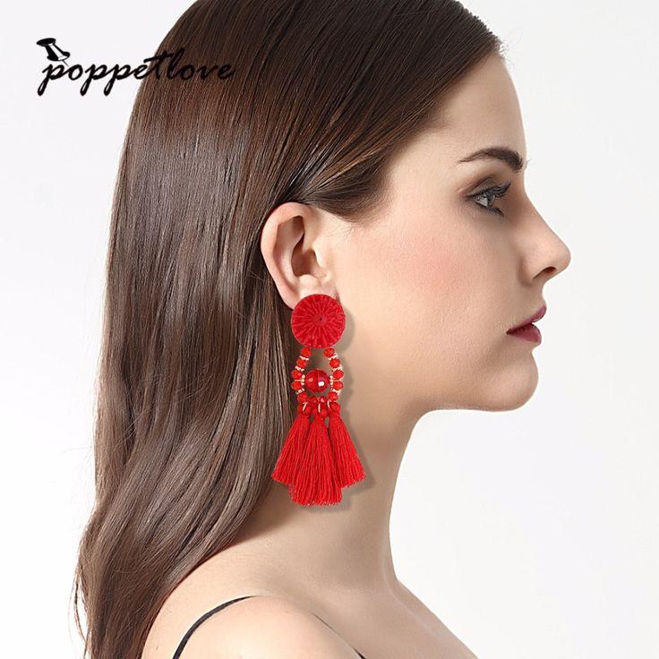 2017 New Arrival 10 Colors Resin Bead Silk Tassel Earrings Drop Round Earrings 9cm Gold Earrings For Women And Girl #Affiliate