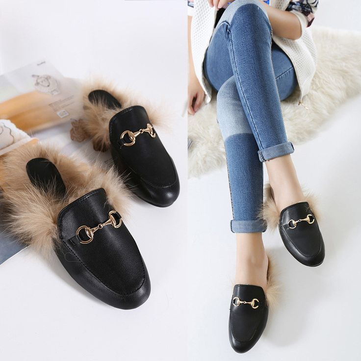Rabbit Fur Leather Slippers Warm Flats Shoes Flip Flop Loafers