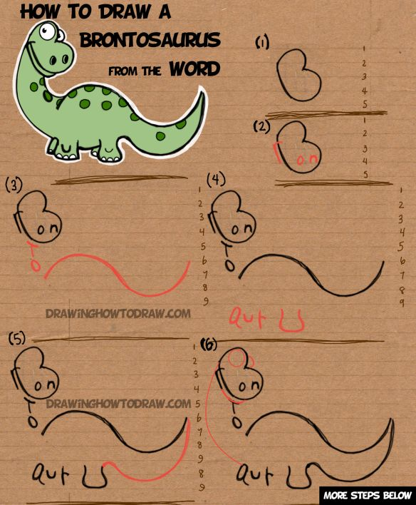 How to Draw a Cartoon Brontosaurus from the Word Brontosaurus Simple Step by Step Drawing Tutorial