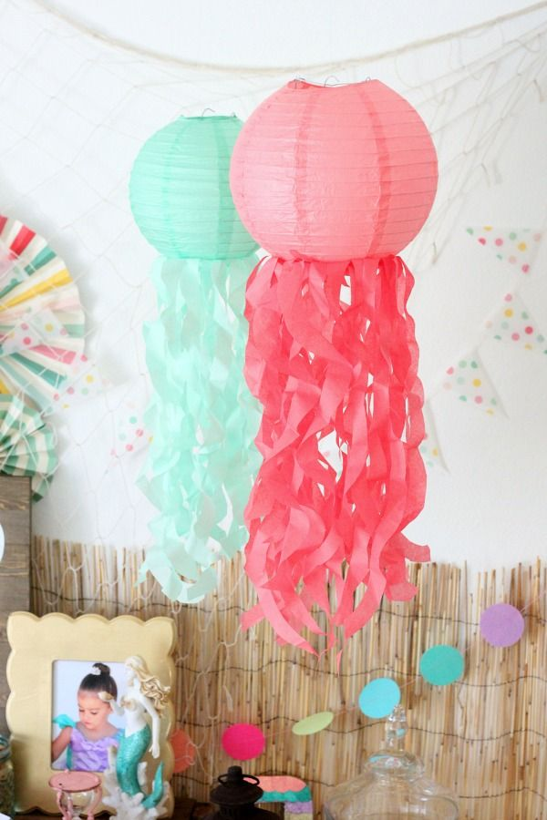 Mermaid Party Ideas: DIY jellyfish paper lanterns via Elevate Everyday