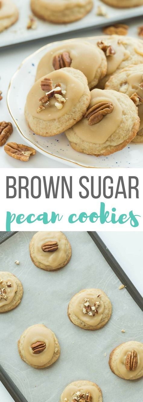These Brown Sugar Pecan Cookies are soft, buttery, brown sugar cookies topped with brown sugar frosting and more pecans -- perfect for Christmas baking or any day of the year! Includes step by step recipe video | sugar cookies | soft cookies | Christmas cookies | fall baking | cookie exchange | #Christmascookies #Christmasbaking #sugarcookies