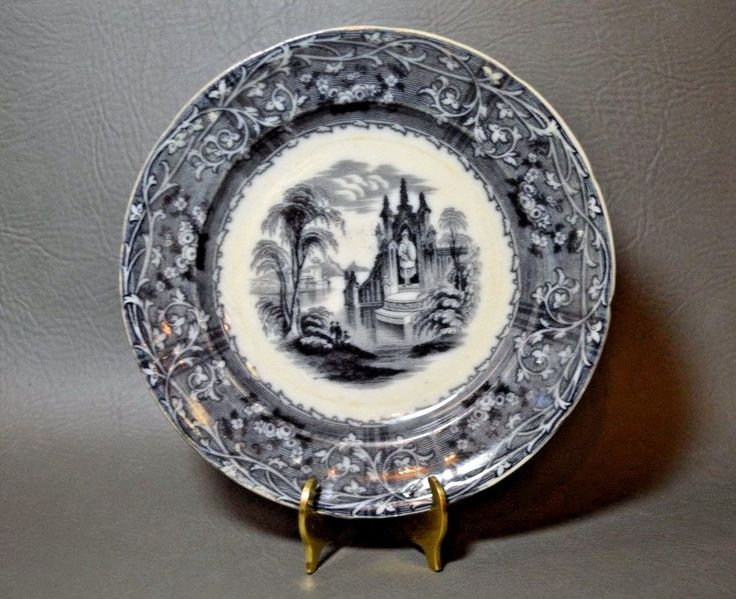 Antique 1800's T.J.&T Mayer Rhone Scenery Ironstone Flow Mulberry/ Black Plate | Antiques, Decorative Arts, Ceramics & Porcelain | eBay!
