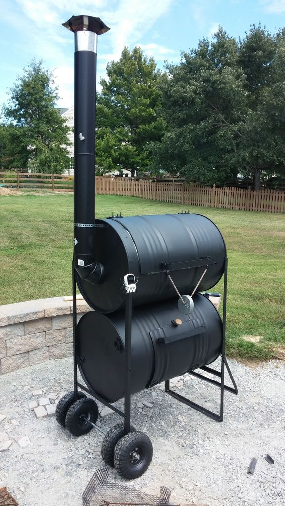 The No - weld Double Barrel Smoker  http://www.instructables.com/id/The-No-Weld-Double-Barrel-Smoker-and-how-to-use-i/