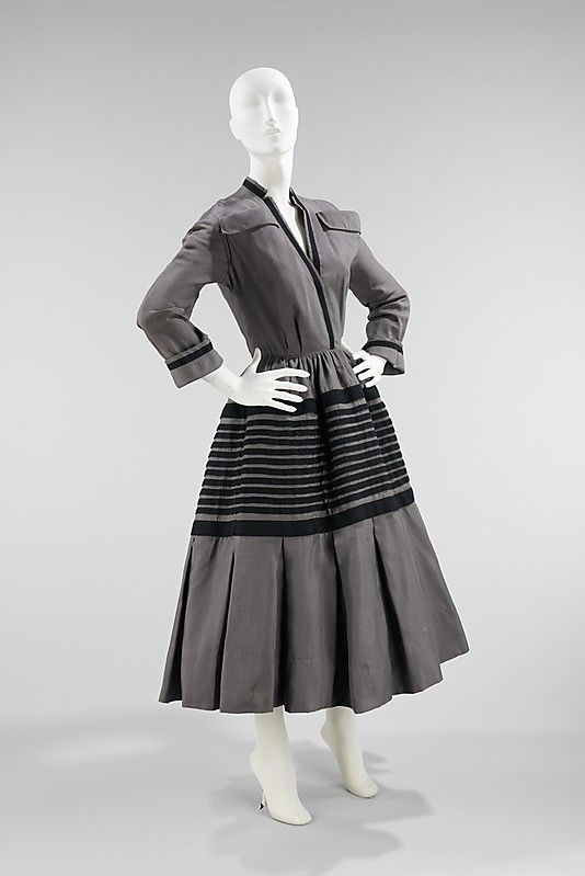 Christian Dior, New York (American   division founded 1948), Silk and Wool Dress, 1948-49