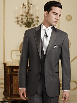 Charcoal grey tuxes for groom & groomsmen