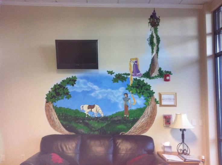 Wall mural in pediatric dentist office