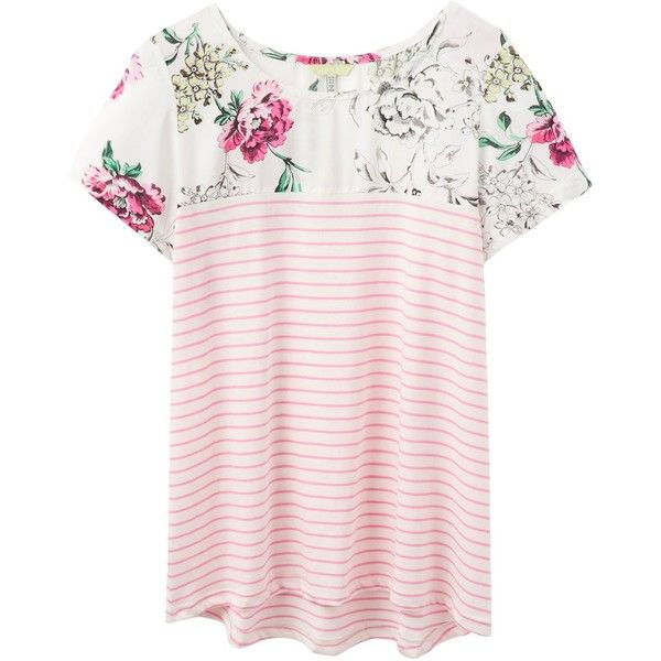 Joules Suzy Jersey T-Shirt, Pink Sherbet Stripe ($35) ❤ liked on Polyvore featuring tops, t-shirts, pink t shirt, summer tops, summer tees, summer t shirts and pink top