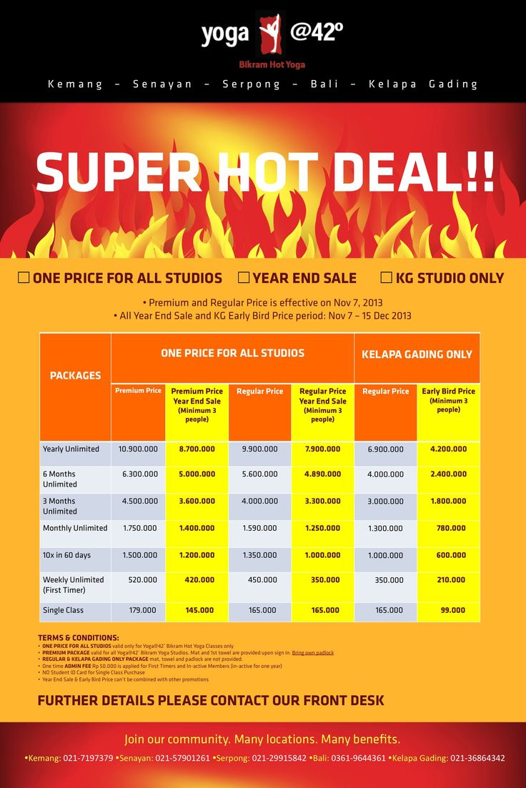 SUPER HOT DEAL FROM YOGA@42 BIKRAM YOGA JAKARTA