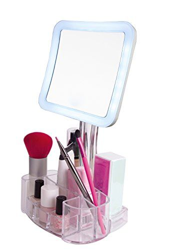 Magnifying Lighted Makeup Mirror   7X LED Portable Illuminated Bathroom Mirror – Vanity Makeup Mirror with Swivel Stand, Vanity Tray… #deals