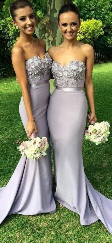 Elegant Chiffon Long Mermaid Bridesmaid Dress Light Grey Sweetheart Appliques Beaded Evening Dresses Custom Made Prom Gowns:
