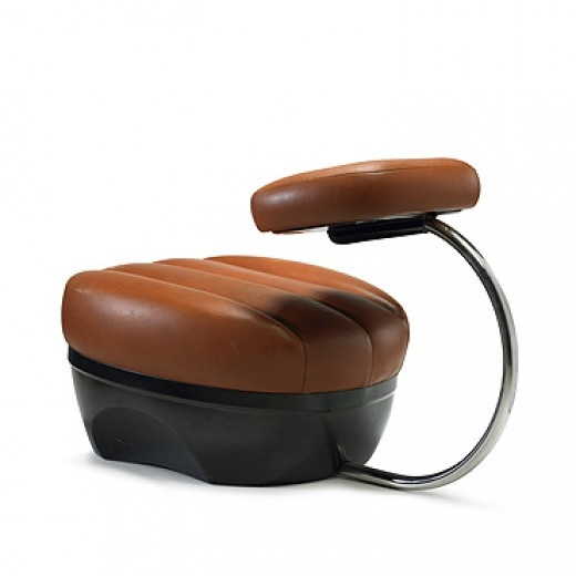 ACHILLE CASTIGLIONI    Primate chair    Zanotta  Italy, 1970  leather, chrome-plated steel, plastic  18.5 w x 31 d x 18.5 h inches