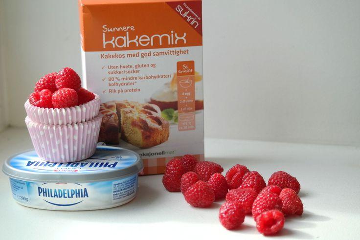 Sommerlige muffins med bringebær og lime