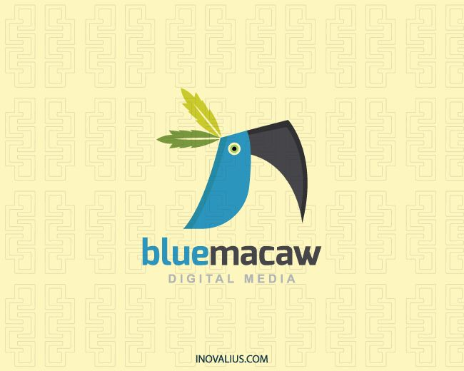 Blue Macaw is a logo in the shape of a blue macaw composed of abstract forms and two tree leaves over the head with the colors green, blue and black.(media, macaw, blue, bird, animal, digital media, leaf, app, Leafs, digital, pet shop, pet, entertainment, macaw bird, macaw parrot, logo for sale, logo design, logo, logotipo).