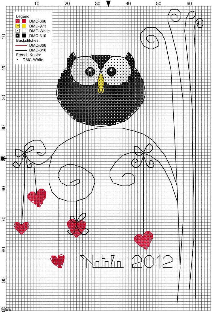 owl on scribble lines with hearts