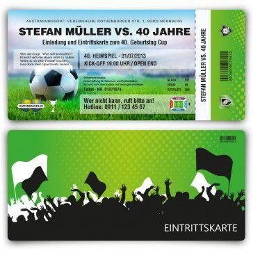 #Einladungskarten als #Fussballticket. Mit eigenem Text und Perforation. http://www.kartenmachen.de/shop/einladungskarten-als-fussballticket/einladungskarte-als-fussballticket-207.html  Die perfekte #Einladung für eine #Fußball #Party oder #PublicViewing