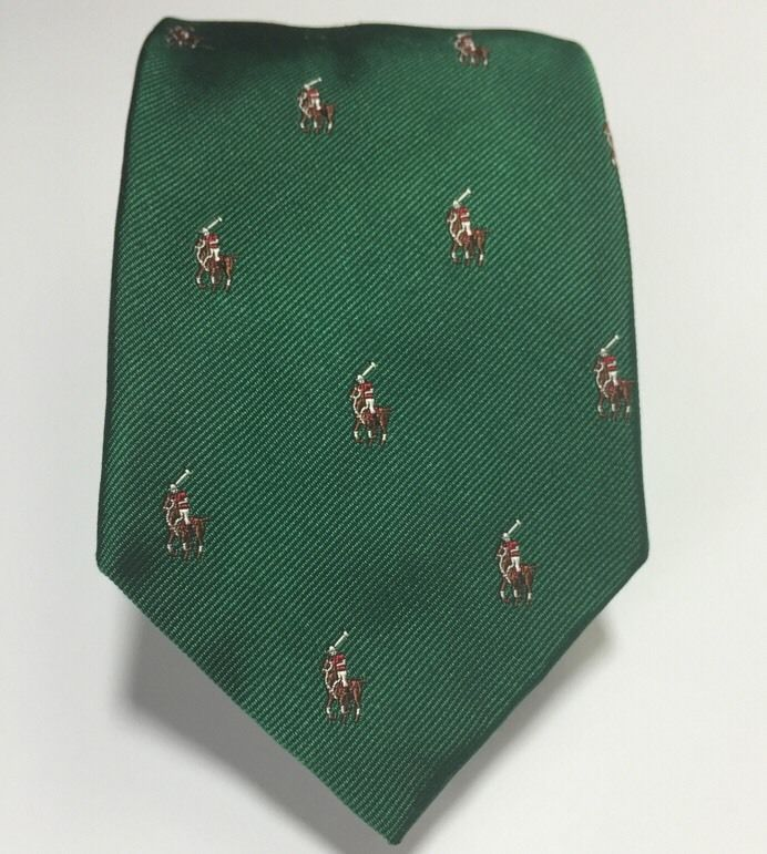 Polo Pony Ponies Ralph Lauren Silk Neck Tie Hand Made Italy Green 57L Horse  Logo