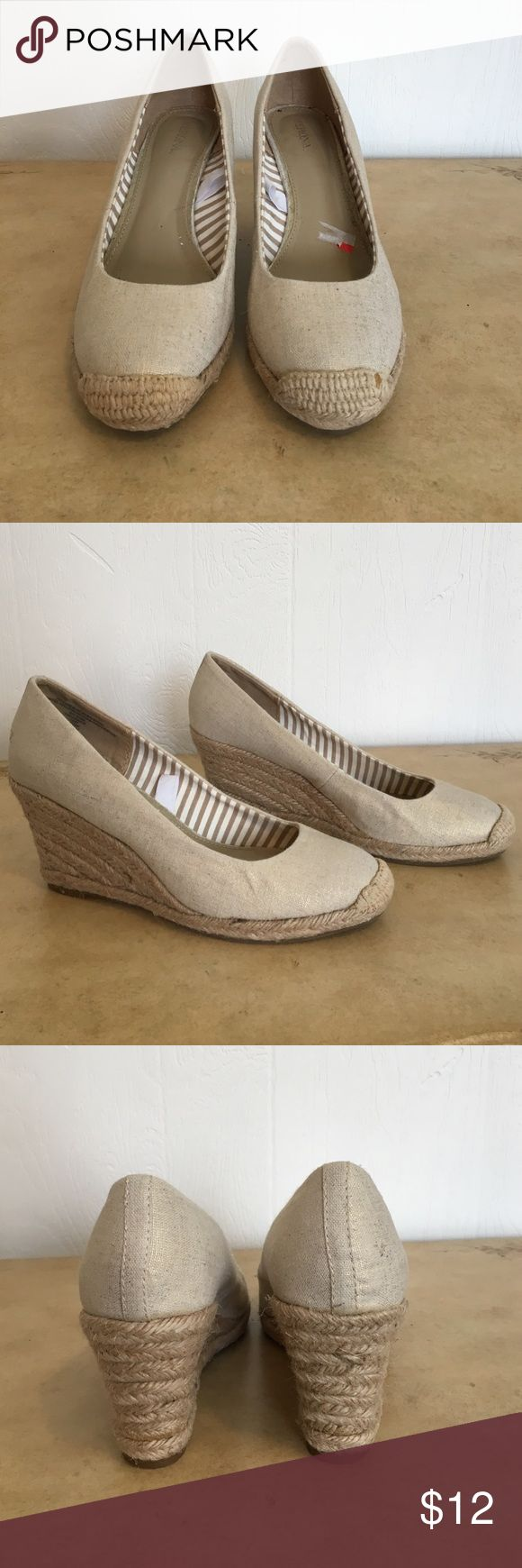 Merona Metallic Nude Espadrilles Wedges Merona Metallic Nude Espadrilles Wedges Size 7.  Details include rubber sole, rope details on wedge, and metallic thread for a slight sheen!  These are great wedges for the summer! Preppy and cute! Merona Shoes Espadrilles