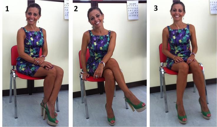 Como sentar de saia  1ª posição está correcta  2ª aceita-se  3ª completamente errada
