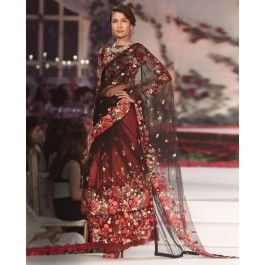 Ombre Black and Maroon Lengha Saree with Multicolor Floral Motifs
