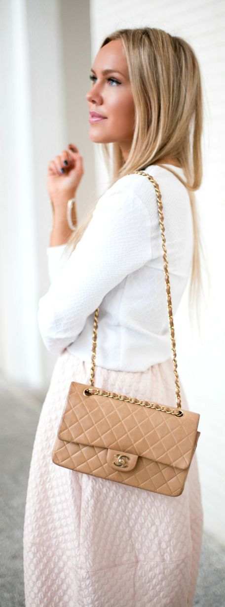 Pastel dress, white sweater and light brown purse. Pretty!!!