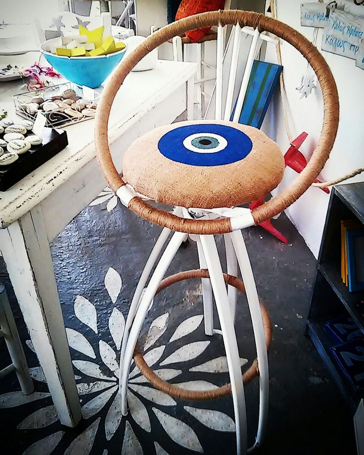 Unique bar stool with hand painted jute seat and jute cord. One of a kind diy furniture at my studio. All done in house, in my studio in Naousa, Paros. A gorgeous greek island in the aegan sea. Handmade-handpainted furniture & accessories.