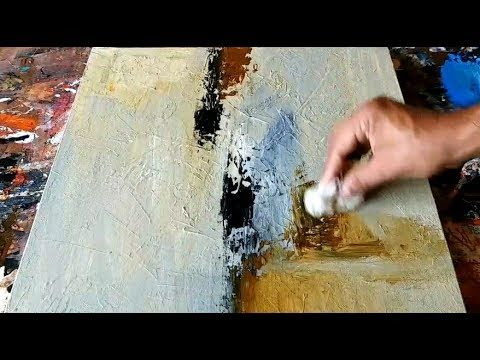 Abstract painting / Using fabric and spatula / Acrylics / Demonstration – YouTube