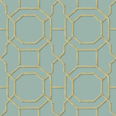 Summer Trellis (21737) - Albany Wallpapers - A bold symmetrical trellis design with an octagonal shape at the centre and a delicate 3 dimensional effect. Available in several colours - shown in the turquoise blue with gold detailing.  Pattern repeat 26.5cm. Please request sample for true colour match.