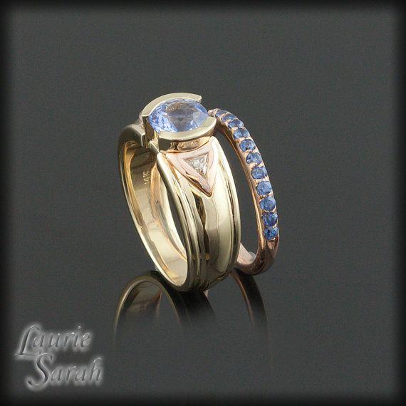 Cornflower Blue Sapphire Engagement Ring by LaurieSarahDesigns, $2934.60