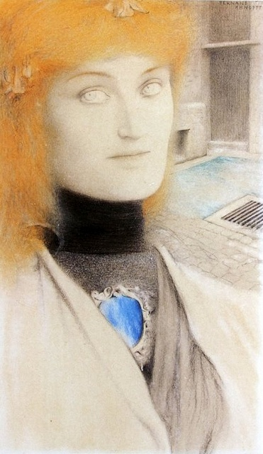fernand khnopff,Who shall deliver me? (Chirtina Georgina Rosseti) 1891  crayons de couleurs: