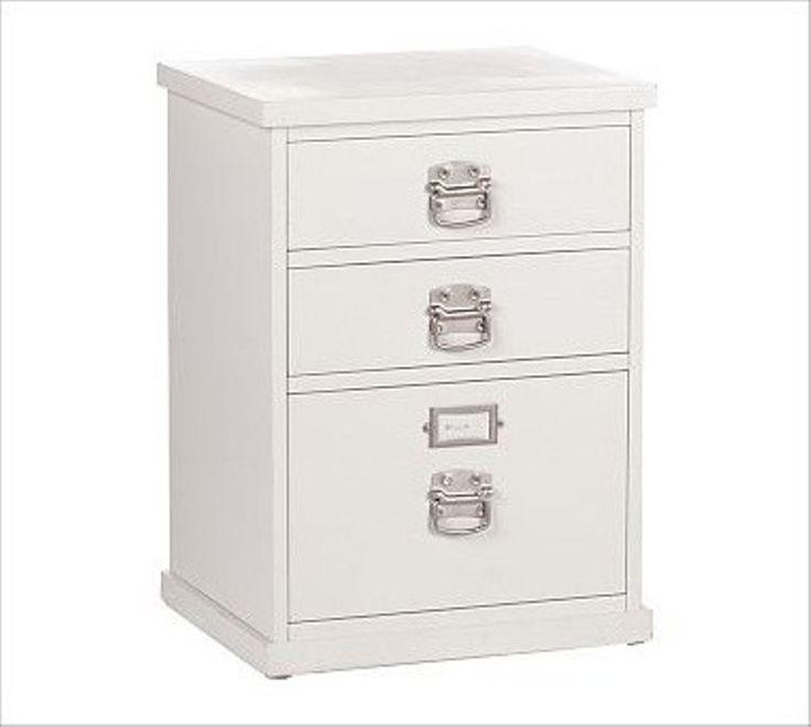 Wood File Cabinet 2 Drawer White