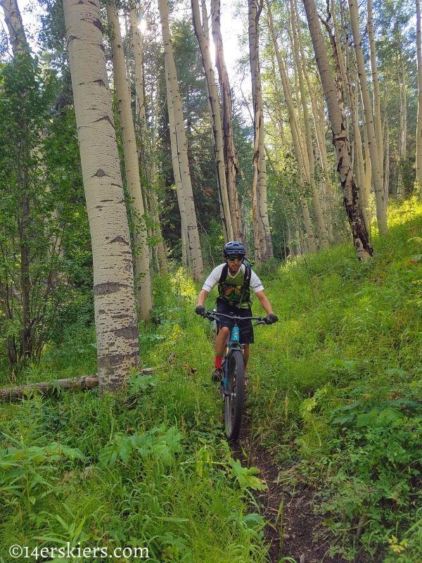 Mountain biking Bear Gulch Trail near Fossil Ridge.