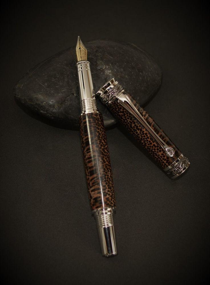 VictoryPens.com - Majestic Jr. Fountain Pen.  Rhodium and Black Titanium.  Swarovski crystal embedded in clip, Iridium point pen nib.