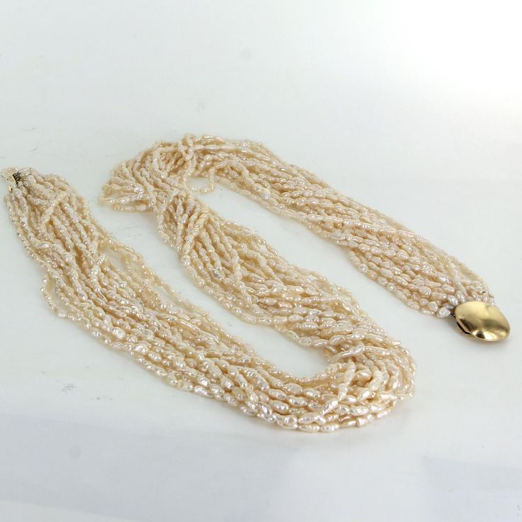"Tiffany & Co Vintage 20 Strand Freshwater Pearl Long 34"" Necklace 18 Karat Gold"