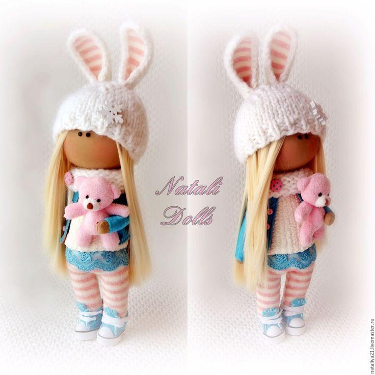 Купить Интерьерная куколка- зайка под ёлку - голубой, кукла ручной работы, кукла в подарок
