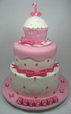Pink white cupcake 3 tiered cake 1st Birthday cake. www.carryscakes.com.au