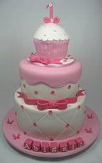 Pink white cupcake 3 tiered cake 1st Birthday cake. www.carryscakes.com.au