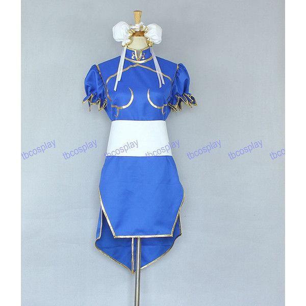 Street Fighter Chun Li Cosplay Costume ($65) ❤ liked on Polyvore featuring costumes, chun li cosplay costume, chun li costume, chun li halloween costume, blue costume and street fighter costume