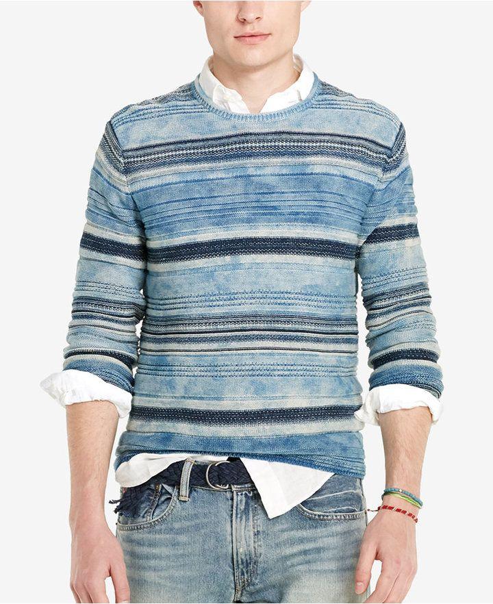 Polo Ralph Lauren Men's Indigo Striped Crew Neck Sweater
