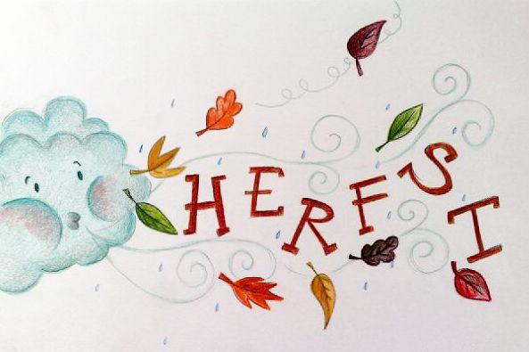 De blaadjes waaien je om de oren en de paraplu en sjaals kunnen weer van de zolder, het is Herfst!  Vandaar nr.19 van One-sketch-a-day, het is Herfst! #studiostift