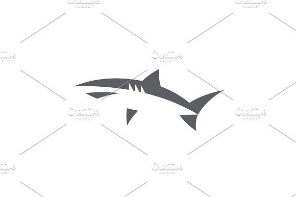Shark in abstract minimal negative space logo design vector style flat fish on white background  @creativework247