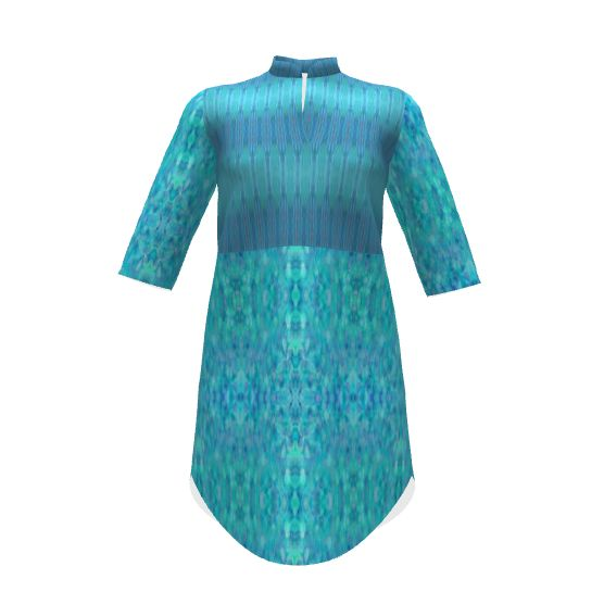 Named Clothing Helmi Tunic Dress made with Spoonflower designs on Sprout Patterns. A product of the #SAGE Group.  Fabric designs by dunnspun and shi_designs.  Please check 2D view for exact fabric placement for your size.