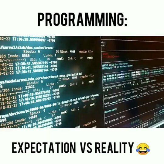 Exception vs reality #html #css #java #js #php #c #cpp #love #funny #mems #webdeveloper #database #computerscience #geek #engineer #setups #code #codergirl #coderlife #redbull #linux #kali #google #apple #mac #school #college #nerd #iot