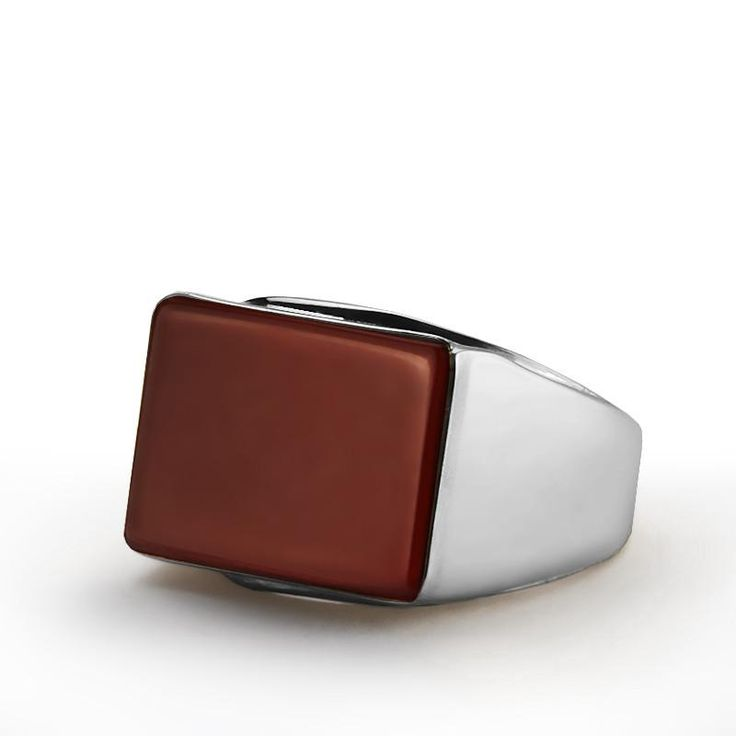 Men's Gemstone Ring Sterling Silver with Natural Red Agate #emerald #sapphire #agate #turquoise #diamondring #mensring