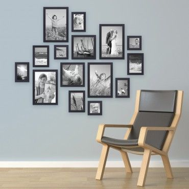 Set of 15 Picture Frames Black Modern Solid Wood Gr …
