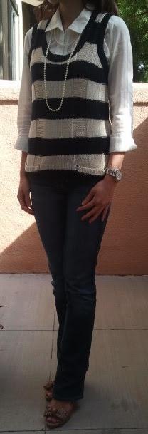 Jeans, kemeja putih plus vest garis2... Hasilnya? Hmmmmm...