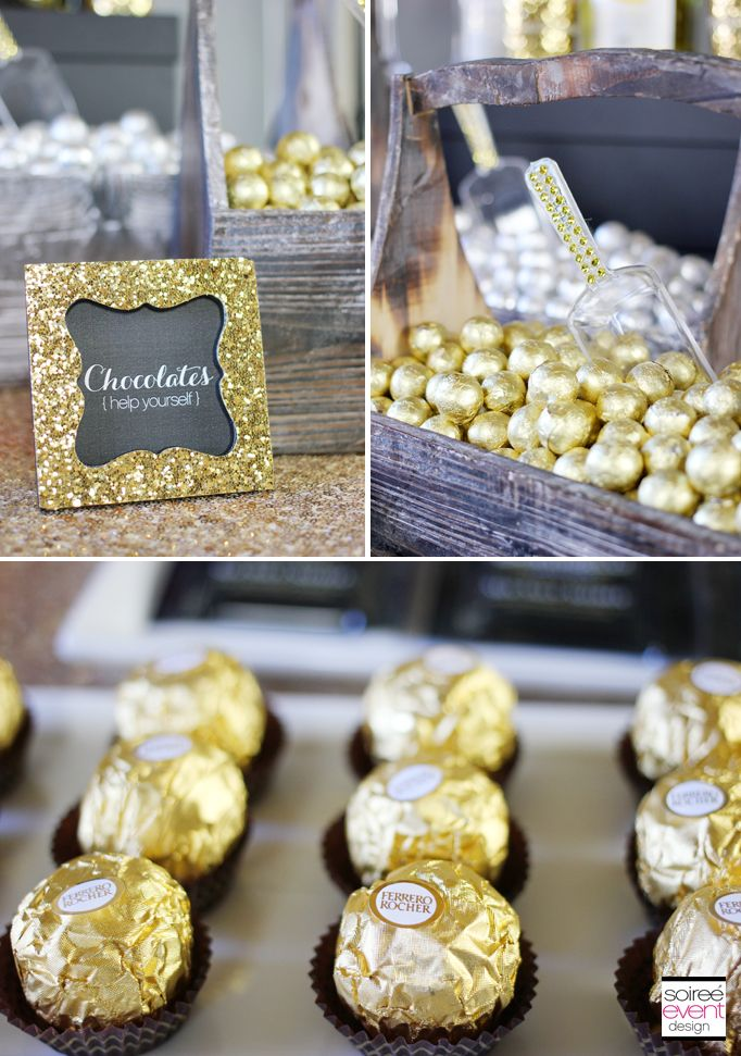 All that glitters is… irresistible! Gold glitter frames by Kate Aspen add glam to any fabulous wedding. Use as placecard holders for guests or to name dishes on the buffet.