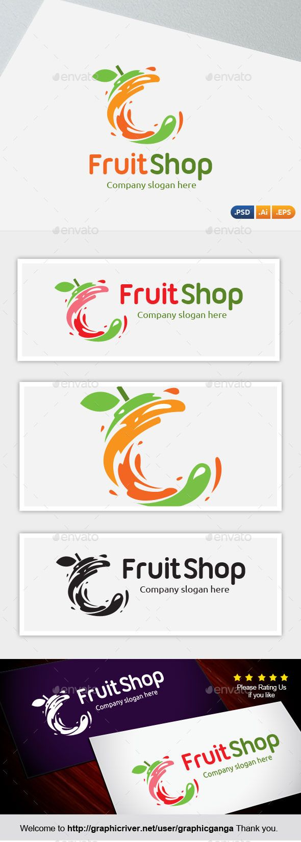 Fruit Shop Logo Design Template Vector #logotype Download it here: http://graphicriver.net/item/fruit-shop/11929869?s_rank=659?ref=nesto
