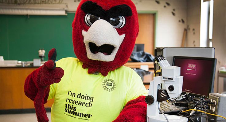 Norm, the IUP Mascot, in a laboratory
