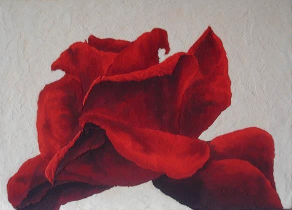 """Massimo Catalani """"Rosa rossa""""  marmo di carrara, terra di Ascoli Piceno  cm. 63 x 45"""