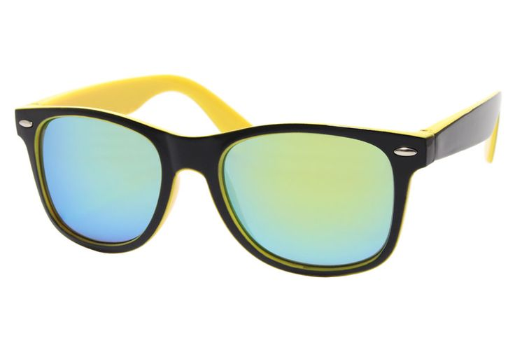 Black and Yellow Wayfarer With Mirrored Glasses